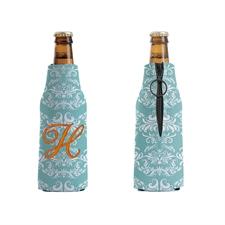 Vintage Bestickt Pfauenblau Personalisierter Flaschenkühler mit Reißverschluss