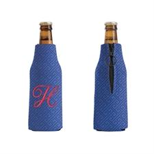 Bestickt Labyrinth Navy Personalisierter Flaschenkühler mit Reißverschluss