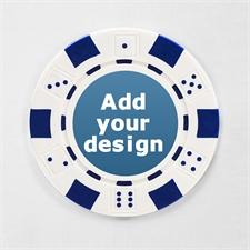 Weiß Pokerchips personalisieren Streifen und Würfel mit Foto 12,5 Gramm