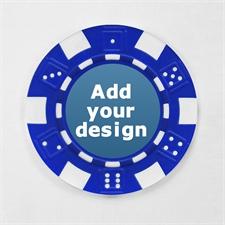 Blau Pokerchips personalisieren Streifen und Würfel mit Foto 12,5 Gramm