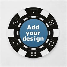 Schwarz Pokerchips personalisieren Streifen und Würfel mit Foto 12,5 Gramm