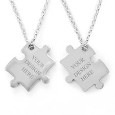 Puzzle Halskette Gravur Anhänger beidseitig  selbst gestalten