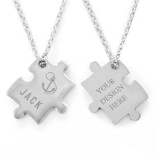 Anker Puzzle Halskette Gravur Anhänger Personalisieren Samtbeutel