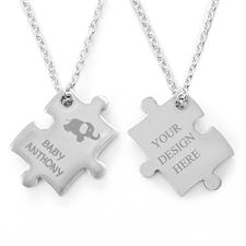 Elefant Puzzle Halskette Gravur Anhänger Personalisieren Samtbeutel