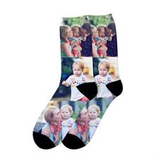 Dreier Collage Personalisierte Fotodruck Unisex Socken, Größe M