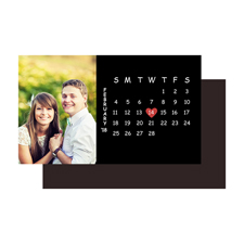 5,08 x 8,89 cm Memomagnetkalender, Schwarz