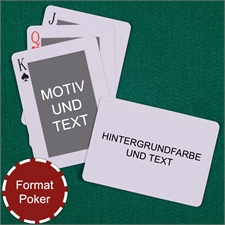 Klassische Pokerkarten beidseitig personalsisieren Rückseite Querformat