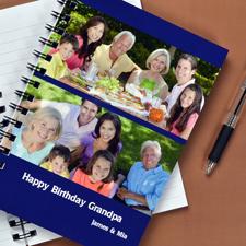 Notizbuch, Zwei Fotos, Zweizeilig, Blau