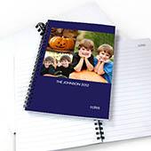 Notizbuch, Drei Fotos, Einzeilig, Blau