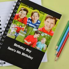Notizbuch, Vier Fotos, Doppeltitel, Schwarz