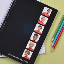 Notizbuch, Sechs Fotos, Doppeltitel, Schwarz
