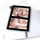 Notizbuch, Zwölf Fotos, Zweizeilig, Schwarz