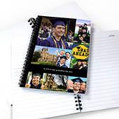 Notizbuch, Neun Fotos, Einzeilig, Schwarz