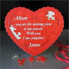 Süßes Personalisiertes Herzpuzzle Rahmenfarbe nach Wahl