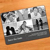 Einladung Kollagepuzzle 6 Fotos, Grau
