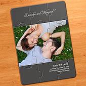Hochzeit Bekanntgabe Fotopuzzle, grau