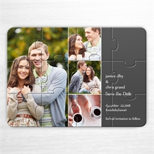 Einladung Kollagepuzzle 4 Fotos im Quadrat, Grau