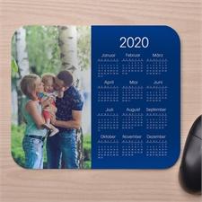 Modernes Foto Kalender Mauspad Blau
