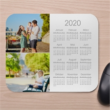 Zwei Fotos Kalender Kollage Mauspad Weiß