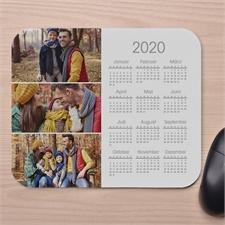 Drei Foto Kalender Mauspad Weiß