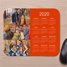 Drei Fotos Kalender Kollage Mauspad Orange
