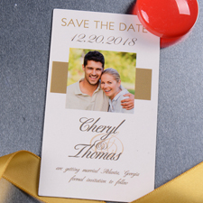 Save the Date Foto Magnet Gold Personalisieren 5,08 x 8.89 cm