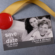 Lass Dich knipsen Save the Date Magnet Grau 5,08 x 8,89 cm