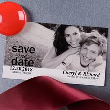 Schnappschuss Save the Date Weiß Fotomagnet 5,08 x 8,89 cm