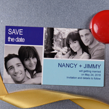 5,08 x 8,89 cm Save the Date Fotomagnet Blau