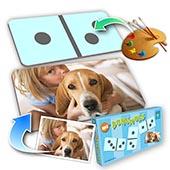 Personalisiertes  Domino Farbwahl Tierfreund Foto im Querformat
