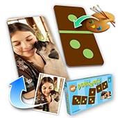 Personalisiertes Domino Farbwahl  Tierfreund Foto im Hochformat