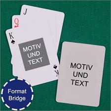Bridgekarten mit Portraitfoto in der Mitte