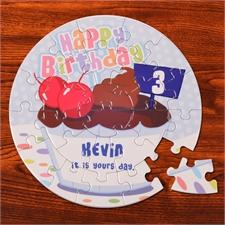 Rundes Fotopuzzle Geburtstag Bub 18,4 cm Durchmesser 72 oder 26 Teile