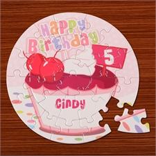 Geburtstag Mädchen Rundes Puzzle Personalisieren Durchmesser 18,4 cm