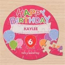 Ein Luftballon zum Geburtstag Rundes Puzzle Personalisieren Durchmesser 18,4 cm
