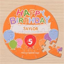 Ein Ballon zum Geburtstag Rundes Puzzle Personalisieren Durchmesser 18,4 cm