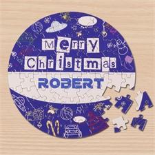 Fröhliche Weihnachten Blau Rundes Puzzle Personalisieren Durchmesser 18,4 cm