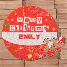 Fröhliche Weihnachten Rot Rundes Puzzle Personalisieren Durchmesser 18,4 cm