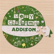 Fröhliche Weihnachten Rundes Puzzle Personalisieren Durchmesser 18,4 cm Grün