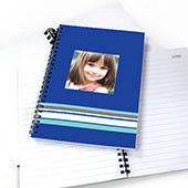 Notizbuch, Buntgestreift, Blau