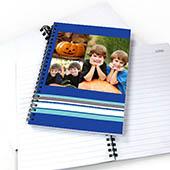Notizbuch, Drei Fotos, Gestreift, Blau