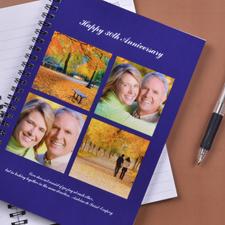 Notizbuch, Vier Fotos, Doppeltitel, Blau