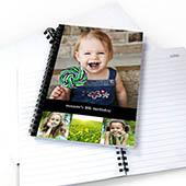 Notizbuch, Vier Fotos, Ein Titel, Schwarz