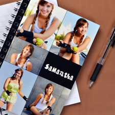 Notizbuch, Fünf Fotos, Schwarz
