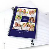 Notizbuch, Sechs Fotos, Blau