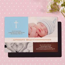 Klassische Taufe Junge Blau Fotomagnet Personalisieren 10,16 x 15,24 cm