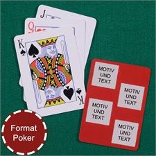 Poker Spielkarten Fotokollage Vier Quadrate Roter Hintergrund