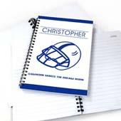 Personalisiertes Notizbuch Baseball Blau