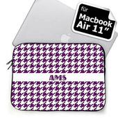 Initialen Lila Houndstooth MacBook Air 11 Tasche