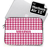 Hot Pink Hahnentritt Personalisierte MacBook Air 11 Tasche